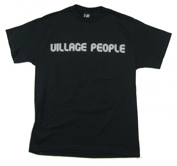 Village People Band Pic Image Black T Shirt Med New Official NOS Giant Merch