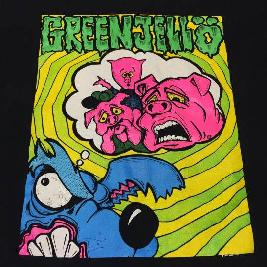 Vintage 1993 Green Jelly Jello XL T Shirt Concert Tour Metal Band Three Pigs