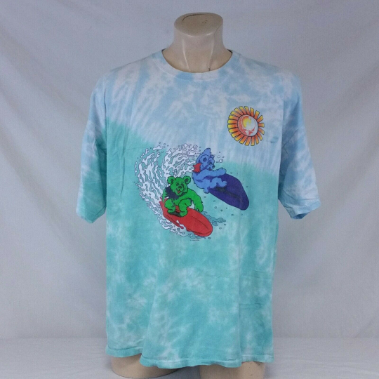 Vintage 1999 Grateful Dead T Shirt Tie Dye Surf Bear Tee Tour Concert 90s XL