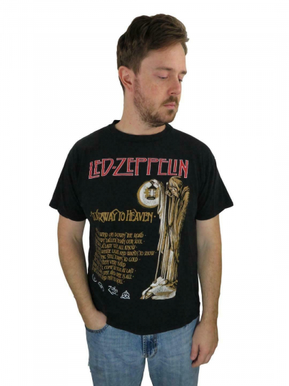 Vintage 70s Men's Led Zeppelin Stairway To Heaven T Shirt Large Concert Band 80s