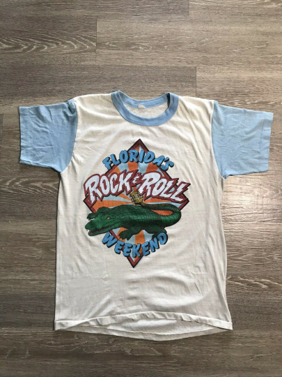 Vintage 80s 1981 Florida's Rock N Roll Weekend Band T Shirt Size XL Heart