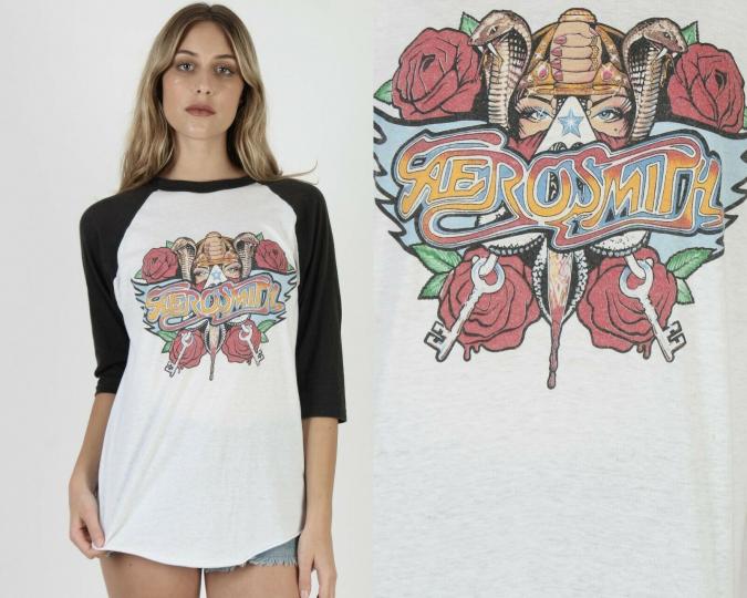 Vintage 80s Aerosmith 1988 Permanent Vacation Concert Tour Rock Band Tee T Shirt