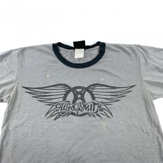 Vintage 90's Giant AEROSMITH Rock Band Ringer T-Shirt Men's Size Small