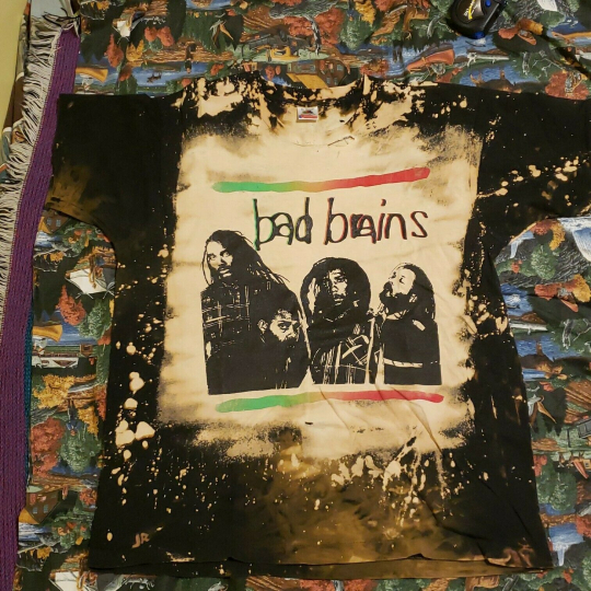 Vintage 90s Bad Brains Shirt XL DC Hardcore Punk All Over Print Mosquitohead