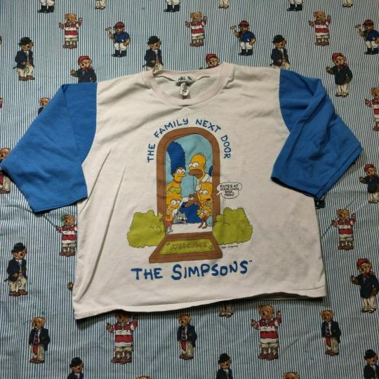 Vintage 90s The Simpsons The Family Next Door Raglan Graphic T Shirt MEDIUM USA