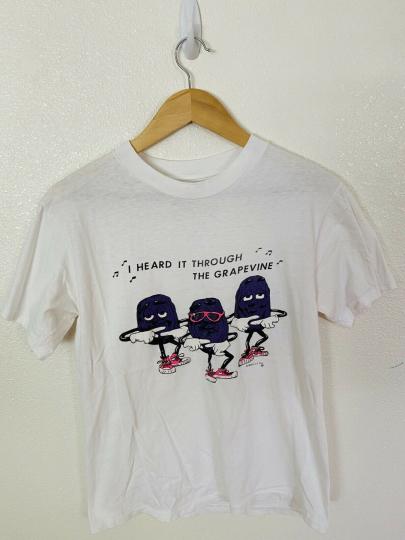 Vintage California Raisins I Heard It Through The Grapevine T Shirt 1987
