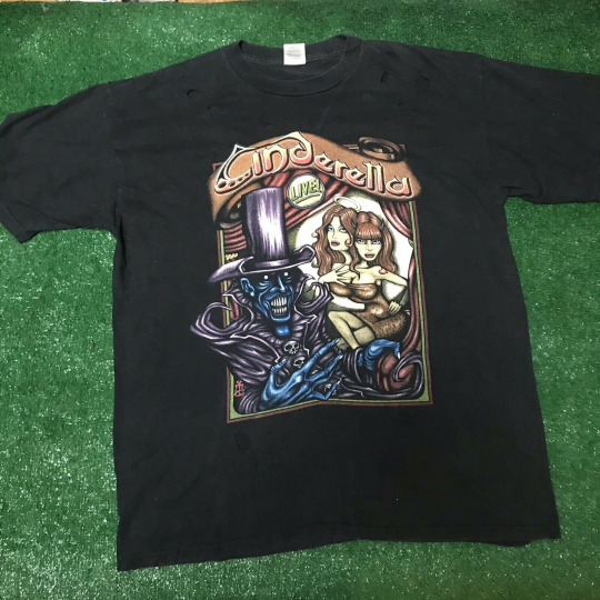 Vintage Cinderella Live 90's concert t-shirt Distressed size XL Band Rap Tee