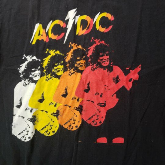 Vintage Delta T-Shirt Mens Sz XL Black AC/DC, Angus Young Band Shirt MS3
