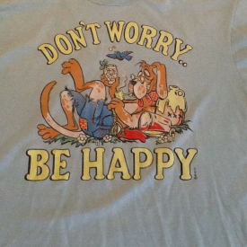 Vintage Don't Worry Be Happy 50/50 Screen Stars Best Large Dog Hillbilly T-Shirt