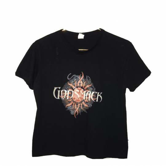 Vintage Godsmack Band Short Sleeve T Shirt Black Womens Size Large (K)