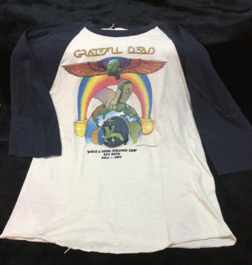 Vintage Grateful Dead Shirt 70s Long Strange Trip 50 50 Paper Thin Raglan Mouse