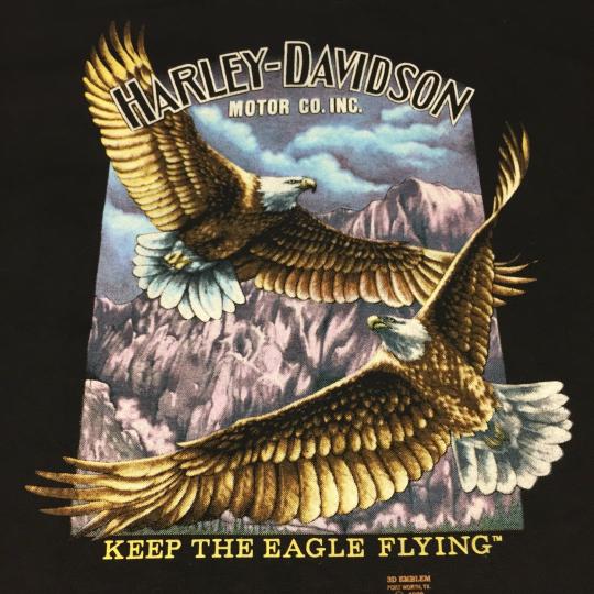 Vintage Harley Davidson 3D Emblem XL T-shirt Eagle Motorcycle Bike Motor Band