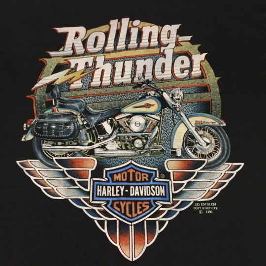 Vintage Harley Davidson 3D Emblem XL T-shirt Thunder Motorcycle Bike Motor Band