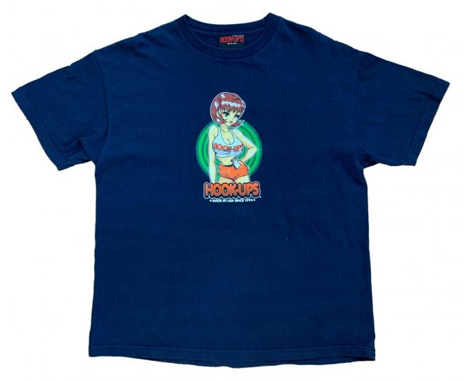 Vintage Hook-Ups Skateboard T-Shirt - Waitress Girl - Size XL - Authentic - Rare