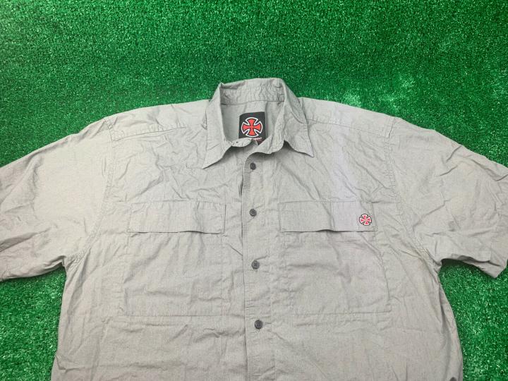 Vintage Independent Truck Company Gray Button Up Skateboard Shirt Mens Medium M