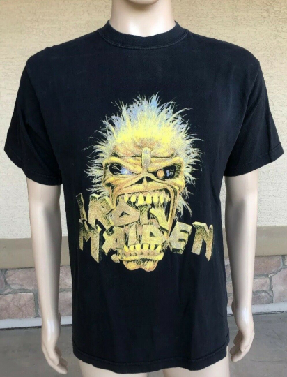 Vintage Iron Maiden Band Concert T Shirt Skull Face CH Gold Series Size Large