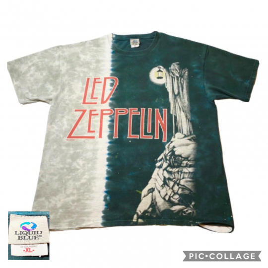 Vintage Liquid Blue Led Zeppelin IV XL Tie Dye Shirt dated 1971 Distressed