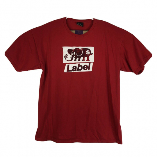 Vintage Mens XL Black Label Skateboard Elephant Logo T-Shirt Red Graphic S/S
