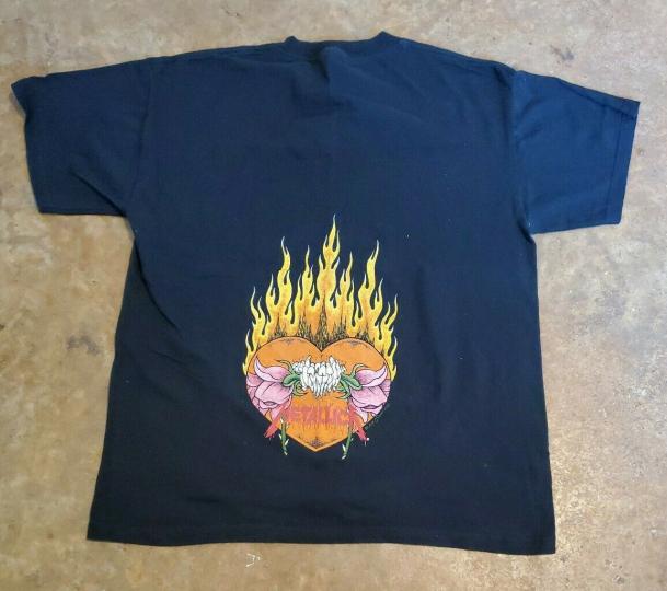 Vintage Metallica Flaming Skull Flower Rose Pushead T Shirt Rare 1994 - Large