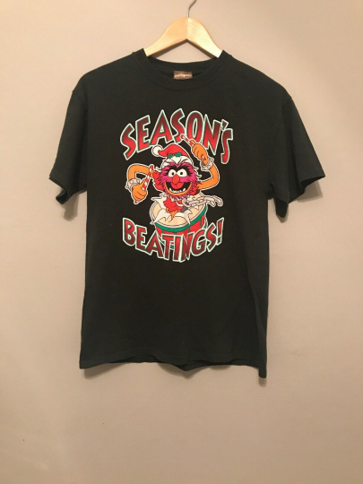"""Vintage Muppets """"Season's Beatings!"""" Graphic Green T-shirt Shirt Size M Movie"""