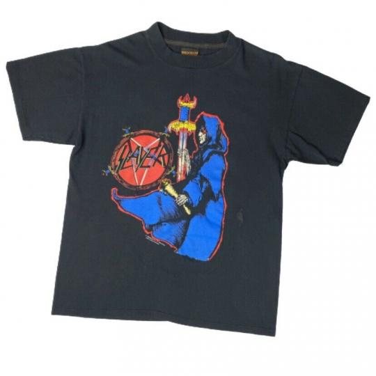 Vintage Original Slayer Band Tee Spill the Blood '92 Brockum T Shirt Large Black