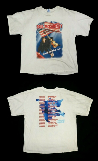 Vintage Paul McCartney The Beatles Tour Rock Band Tee White Grunge XL