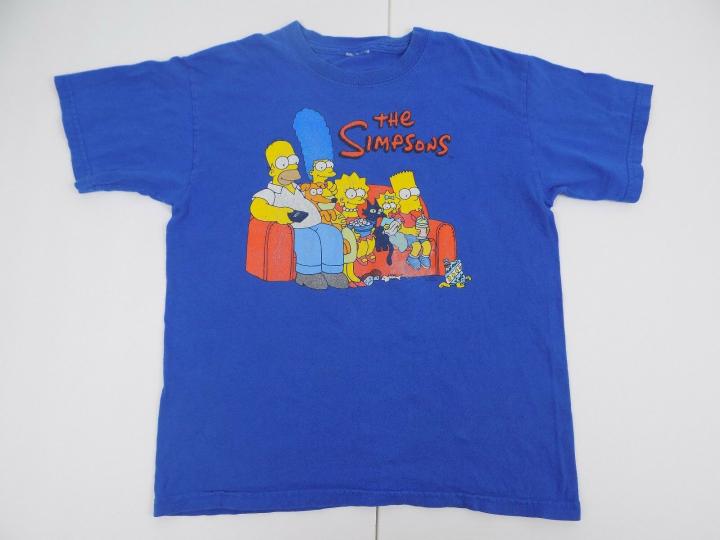Vintage The Simpsons Tv Show Cartoon Blue Tshirt Size X-Small