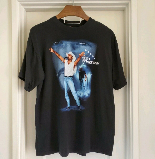 Vintage Tim Mcgraw On Tour Everywhere Black T Shirt Single Stitch Cotton Size XL
