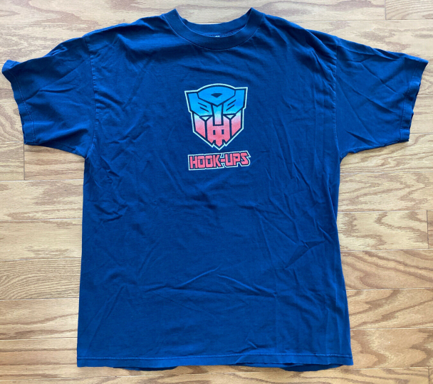 Vintage VTG 90's Hook-Ups Skateboard Transformers T Shirt Blue