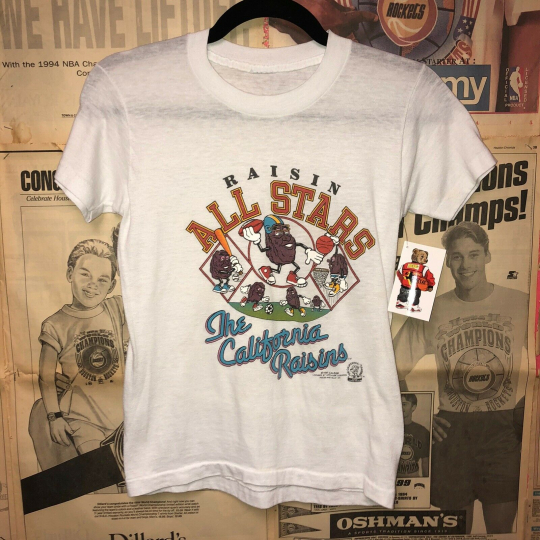 Vintage Vtg 1987 80s California Raisins T-shirt Size Woman's Small