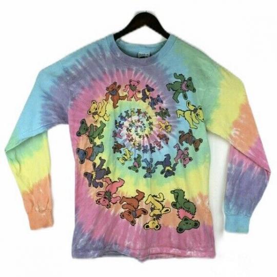 Vtg 1995 Grateful Dead Dancing Bears Liquid Blue Large Tie Dye Long Sleeve Shirt