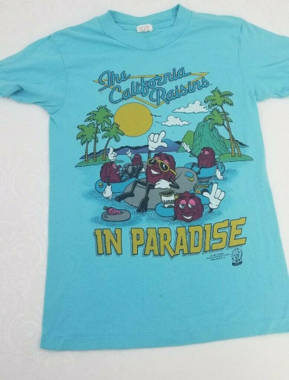 Vtg 80s 1987 The CALIFORNIA RAISINS In Paradise T-Shirt 50/50 Thin Slim S Small
