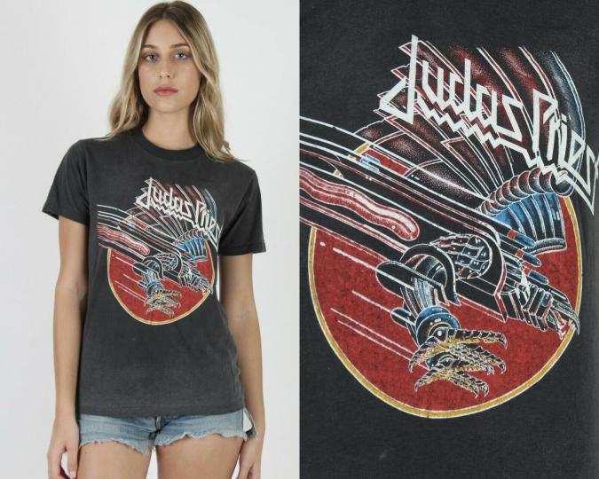 Vtg 80s Judas Priest Screaming for Vengeance Concert Tour Metal Band Tee T Shirt
