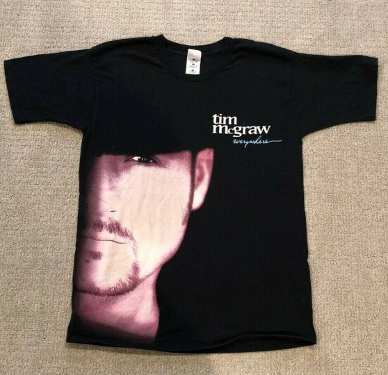Vtg 90s Tim McGraw T Shirt Band Country Everywhere Single Stitch Tour Large EUC
