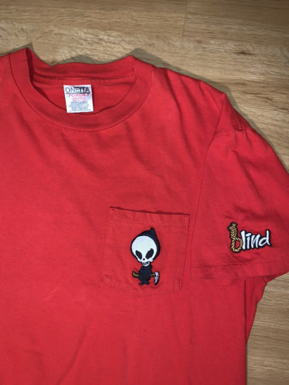 Vtg Blind Reaper Skateboards Pocket Tee Shirt Embroidered Size L Skate