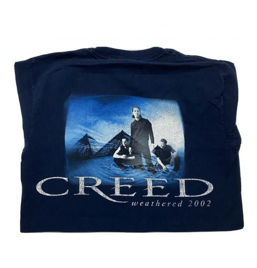 Vtg Creed T-Shirt 2002 Weathered World Tour 2 Sided Band Rock Tee Men's Sz Small