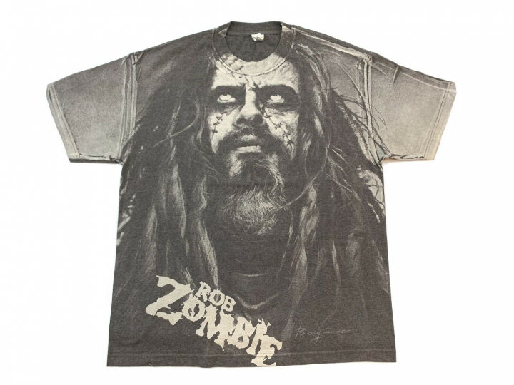 Vtg Rob Zombie All Over Print Face T Shirt White Zombie Rock Band Size XL