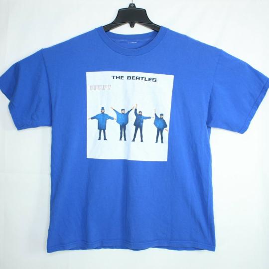 Vtg The Beatles HELP T-Shirt Men's Sz XL Hyper Blue VHTF RARE!