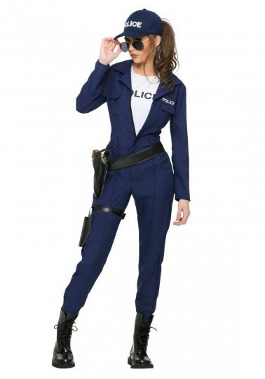 WOMEN'S TACTICAL COP JUMPSUIT COSTUME SIZE S M 2X (missing white shirt)