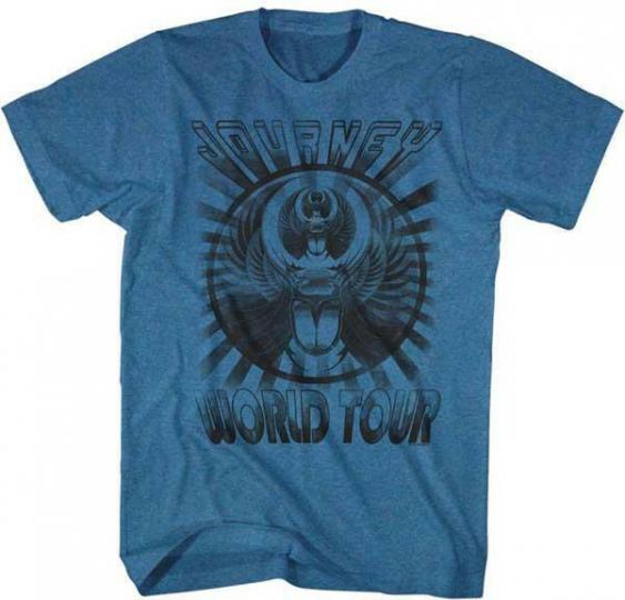 WORLD TOUR Journey Classic Rock Band Licensed Concert Tour BLUE ADULT T-Shirt