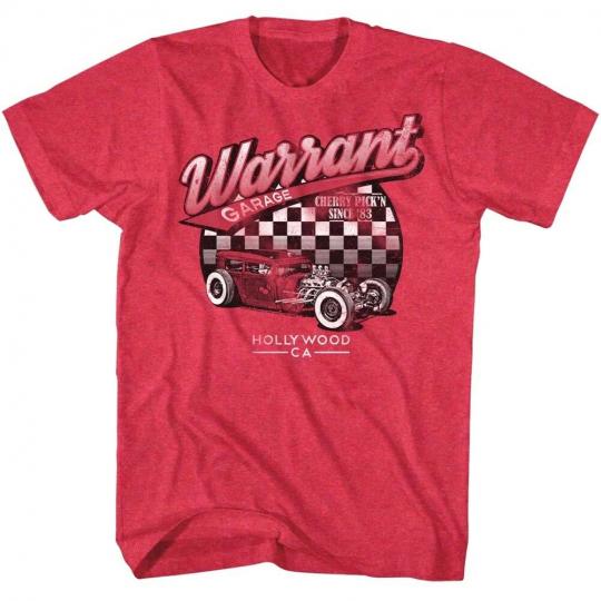 Warrant Garage Cherry Roadster Mens T Shirt Hollywood Rock Band Album Tour Merch