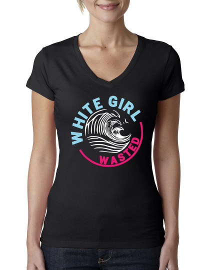 White Girl Wasted Drink Parody Claw Drinking Womens V-Neck Tee