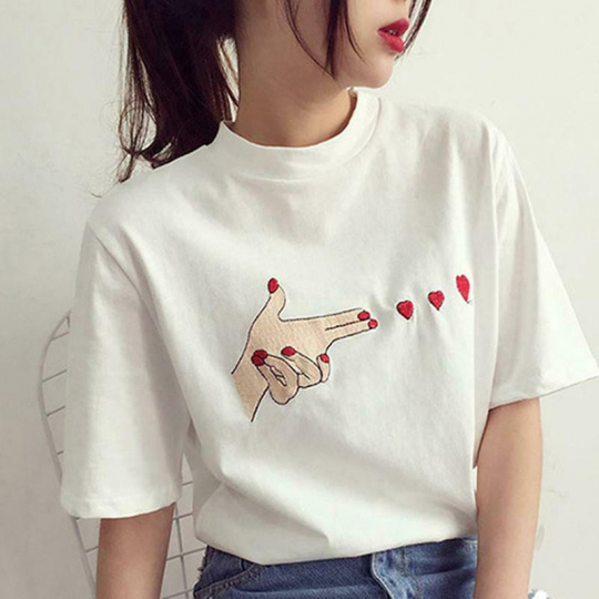 Woman Korean Harajuku Heart Print Casual T-shirt Short Sleeve Blouse Tops LP