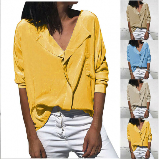 Women Casual V-Neck Buttons Long Sleeve Blouse S-2XL Solid Color T-Shirt Tops
