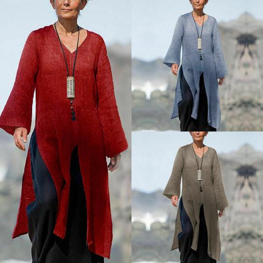 Women Casual Waterfall US Split Blouse Plain High Shirt Long Sleeve Tops