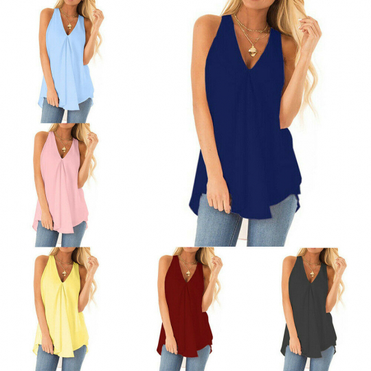 Women Chiffon Tank Solid T Shirt Casual Loose Tops Blouse Plus Size Summer Charm