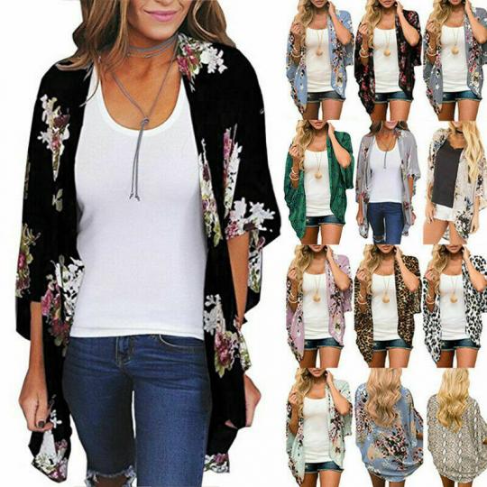 Women Floral Beach Cover Up Kimono Blouse Chiffon Cardigan Loose Shawl Top Shirt
