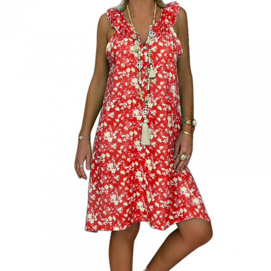 Women Lady Summer Sleeveless Flower Printed Dress Short Party Night Beach Dress