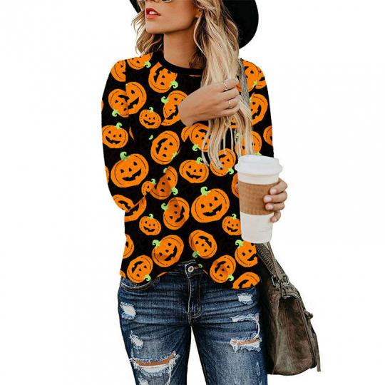 Women Leopard Print Long Sleeve T-shirt Round Neck Tops S-2XL 5 Models Optional