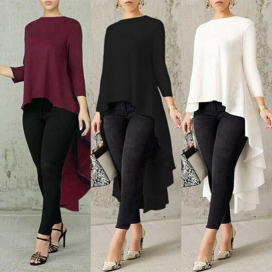 Women Low Blouse Long Shirt High Asymmetrical Sleeve Waterfall Tops Plus